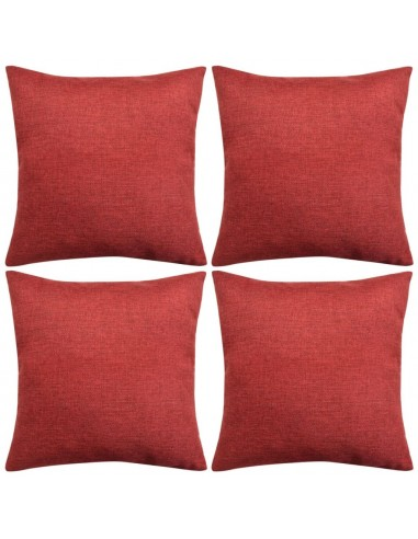 Pagalvėlių užvalkalai, 4 vnt., lino imitacija, vyšniniai, 80 x 80 cm | Dekoratyvinės pagalvėlės | duodu.lt