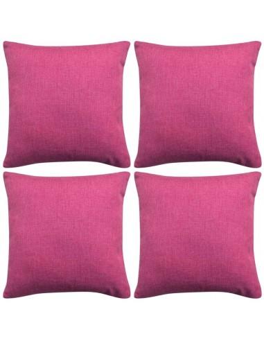 Pagalvėlių užvalkalai, 4 vnt., lino imitacija, rožiniai, 40 x 40 cm   Dekoratyvinės pagalvėlės   duodu.lt