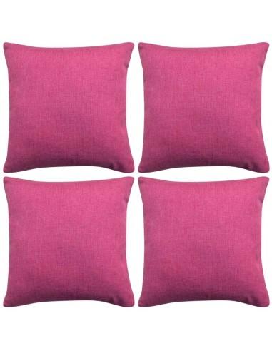 Pagalvėlių užvalkalai, 4 vnt., lino imitacija, rožiniai, 50 x 50 cm | Dekoratyvinės pagalvėlės | duodu.lt