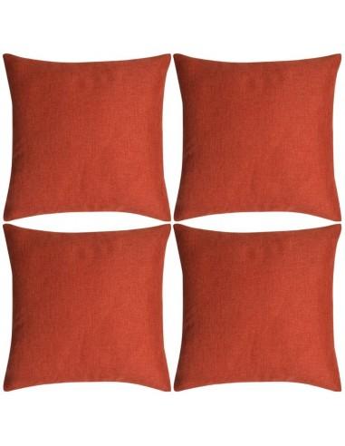 Pagalvėlių užvalkalai, 4 vnt., lino imitacija, terakota, 40 x 40 cm | Dekoratyvinės pagalvėlės | duodu.lt