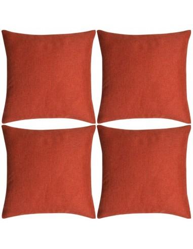 Pagalvėlių užvalkalai, 4 vnt., lino imitacija, terakota, 50 x 50 cm   Dekoratyvinės pagalvėlės   duodu.lt