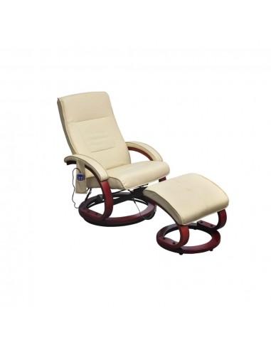 Masažinis krėslas su kėdute kojoms, elektrinis, dirbt. oda, krem.  | Elektrinės Masažo Kėdės | duodu.lt
