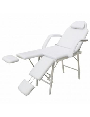 Baltas Kosmetologinis Krėslas, Reguliuojamos Atramos Kojoms   Masažinės Kėdės   duodu.lt