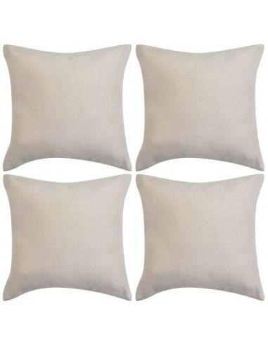 Pagalvėlių užvalkalai, 4vnt, 50x50, poliesterio zomša, kreminė | Dekoratyvinės pagalvėlės | duodu.lt