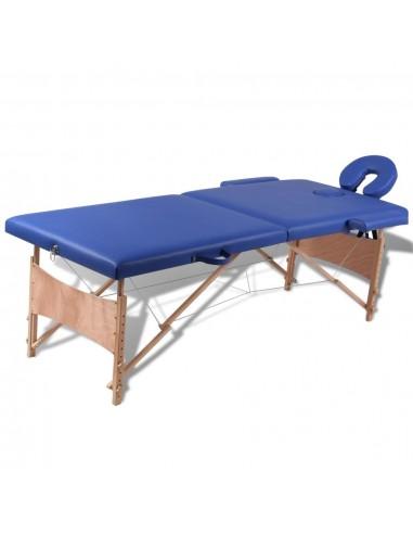 Sulankstomas Masažo Stalas su Mediniu Rėmu, 2 zonų, Mėlynas | Masažiniai Stalai | duodu.lt