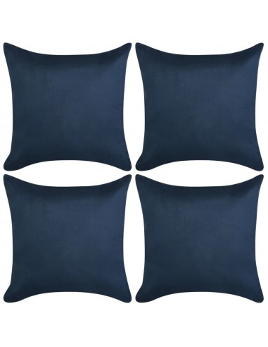 Pagalvėlių užvalkalai 4vnt, 50x50, polies., sint. zomša, mėlyna | Dekoratyvinės pagalvėlės | duodu.lt