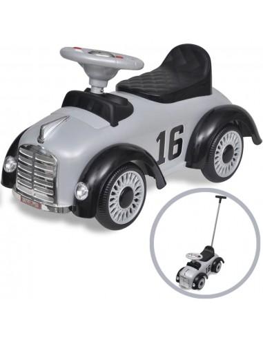 Pilkas retro vaikiškas automobilis su stūmimo rankena | Stumiamos ir Pedalais Minamos Transporto Priemonės | duodu.lt