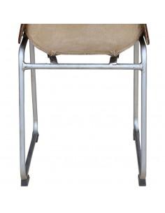 Valgomojo kėdės, 6 vnt., tikra oda ir drobė, ruda ir smėlio sp.    Virtuvės ir Valgomojo Kėdės   duodu.lt