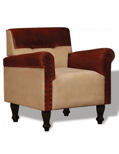 Krėslas, tikra oda ir audinys, rudos ir smėlio spalvos | Foteliai, reglaineriai ir išlankstomi krėslai | duodu.lt
