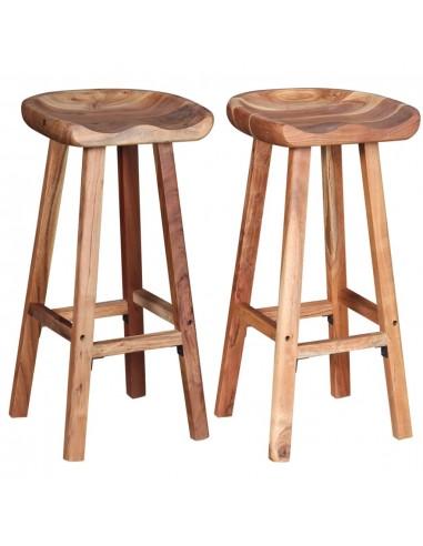 Baro kėdės, 2 vnt., tvirta akacijos mediena, 38x37x76 cm | Stalai ir Baro Kėdės | duodu.lt