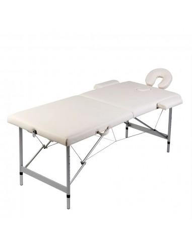 Sulankstomas Masažo Stalas su Aliuminio Rėmu, 2 zonų, Kreminės Spalvos | Masažiniai Stalai | duodu.lt