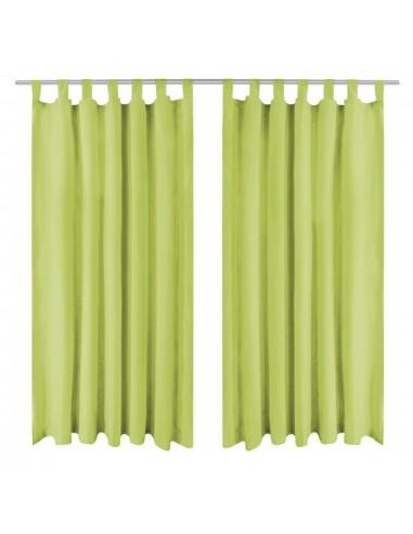 Mikro satino užuolaidos su kilpomis, 2 vnt., 140x225 cm, žalios | Dieninės ir Naktinės Užuolaidos | duodu.lt