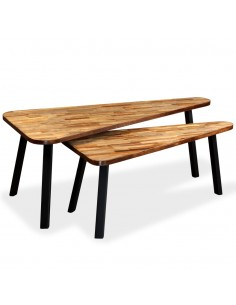 Iškylos/alaus stalo komplektas, 3 dalys, bambukas, sulankstomas  | Lauko Baldų Komplektai | duodu.lt