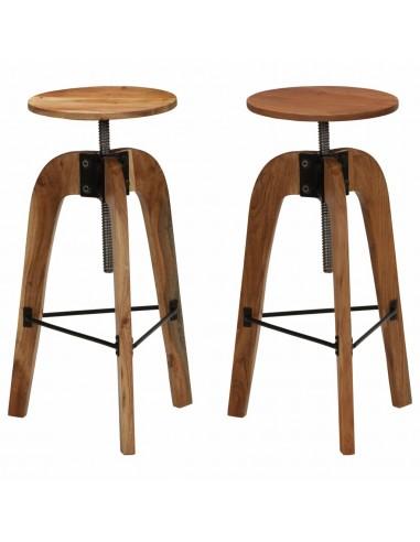 Baro kėdės, 2vnt., akacijos medienos masyvas, 30x(58-78)cm | Stalai ir Baro Kėdės | duodu.lt