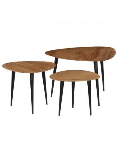 Kavos staliukų kompl., 3d., akacijos medienos masyvas   Kavos Staliukai   duodu.lt