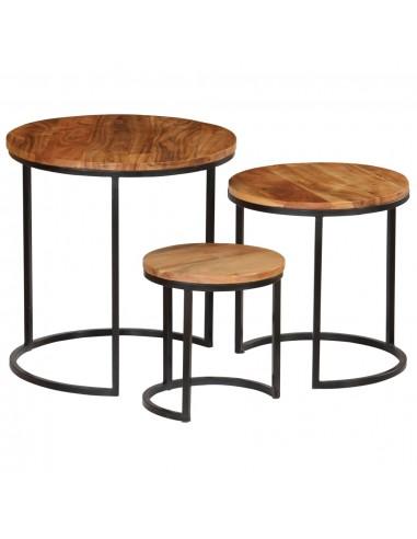 Kavos staliukų kompl., 3d., akac. mas., rausv. dalberg. apd.   Kavos Staliukai   duodu.lt