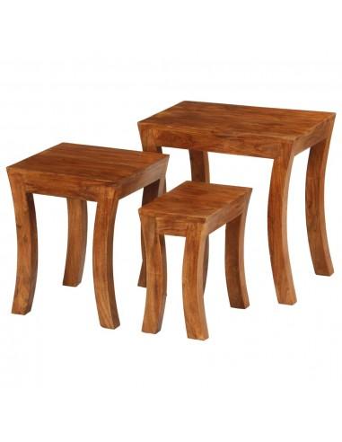Suded. staliukų kompl., 3d., akac. med. mas., 50x35x50cm, rudas   Žurnaliniai Staliukai   duodu.lt