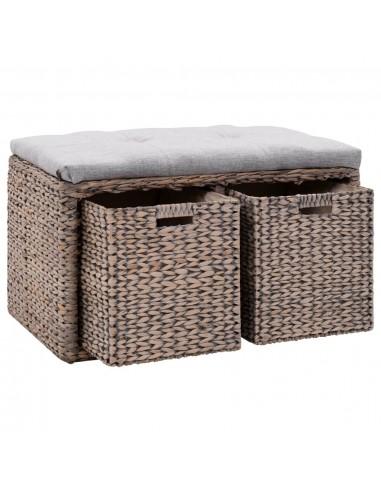 Suoliukas su 2 krepšiais, jūros žolių, 71x40x42cm, pilkas  | Sandėlio ir Prieangio Suolai | duodu.lt