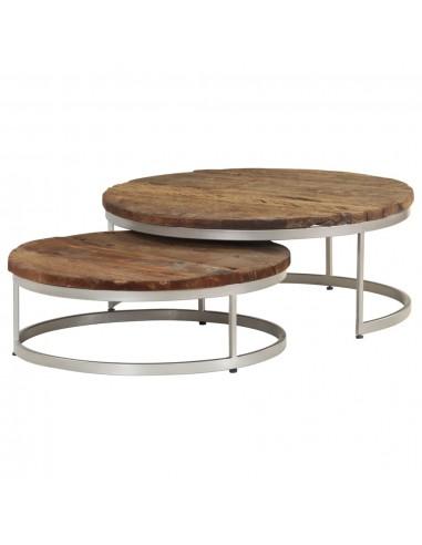 Kavos staliukų kompl., 2d., perdirbta pabėgių med. ir plienas   Kavos Staliukai   duodu.lt