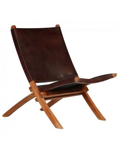 Poilsio kėdė, tikra oda, 59x72x79cm, ruda   Sulankstomos Kėdės ir Taburetės   duodu.lt