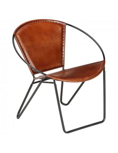 Poilsio kėdė, tikra oda, 69x69x69cm, ruda   Foteliai, reglaineriai ir išlankstomi krėslai   duodu.lt