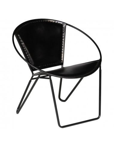 Poilsio kėdė, tikra oda, 69x69x69cm, juoda | Foteliai, reglaineriai ir išlankstomi krėslai | duodu.lt