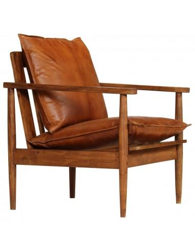 Krėslas, tikra oda, akacijos mediena, rudas   Foteliai, reglaineriai ir išlankstomi krėslai   duodu.lt