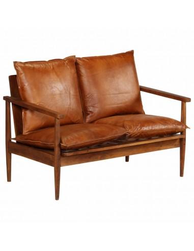 Dvivietė sofa, tikra oda ir akacijos mediena, ruda | Sofos | duodu.lt