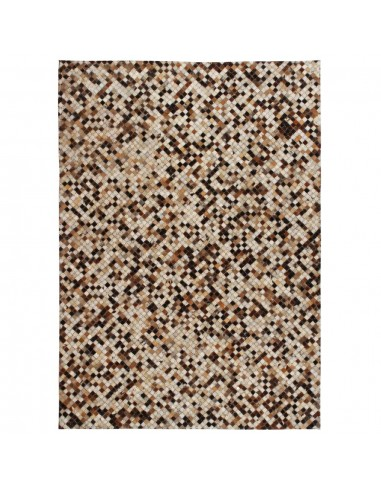 Kilimas, tikros odos, skiaut., 80x150 cm, kvadr., rudas/baltas    Kilimėliai   duodu.lt