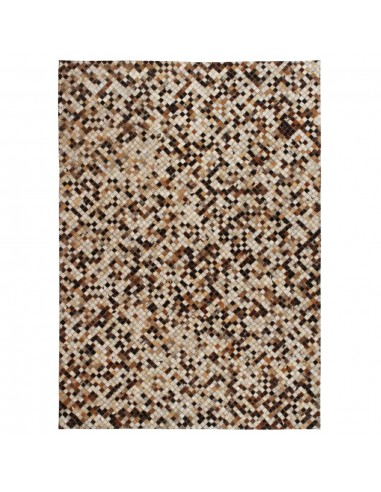 Kilimas, tikros odos, skiaut., 120x170 cm, kvadr., rudas/baltas  | Kilimėliai | duodu.lt