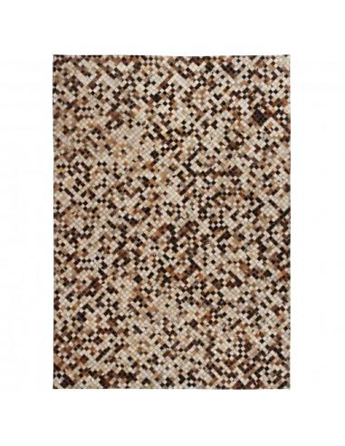 Kilimas, tikros odos, skiaut., 160x230 cm, kvadr., rudas/baltas    Kilimėliai   duodu.lt