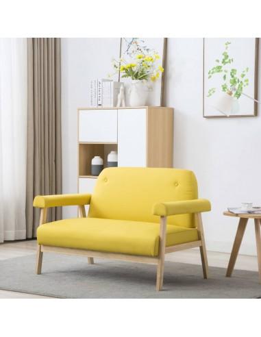 Dvivietė sofa, audinys, geltona    Sofos   duodu.lt