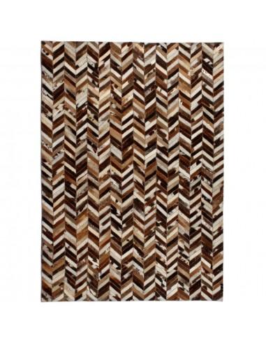 Kilimas, tikros odos, skiaut., 160x230cm, juost., rudas/baltas  | Kilimėliai | duodu.lt