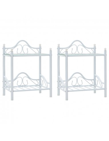 Nakt. stal., 2vnt., plien. ir grūd. stikl., 45x30,5x60cm, balti | Naktiniai Staliukai | duodu.lt