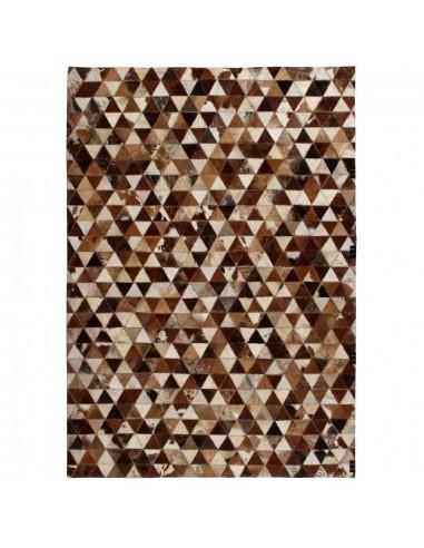 Kilimas, tikros odos, skiaut., 80x150 cm, trikamp., rud./balt.  | Kilimėliai | duodu.lt
