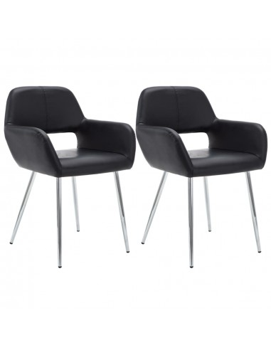 Valgom. kėdės, 2vnt., dirbt. odos apmuš., 57x54x81cm, juod.  | Virtuvės ir Valgomojo Kėdės | duodu.lt