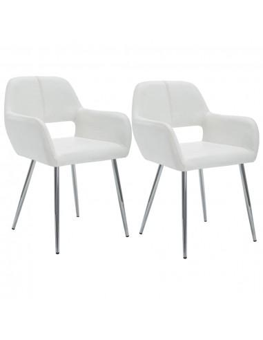 Valgom. kėdės, 2vnt., dirbt. odos apmuš., 57x54x81cm, balt.  | Virtuvės ir Valgomojo Kėdės | duodu.lt