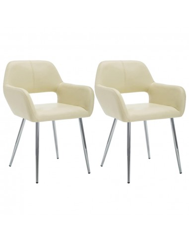 Valgom. kėdės, 2vnt., dirbt. odos apmuš., 57x54x81cm, krem. sp.  | Virtuvės ir Valgomojo Kėdės | duodu.lt