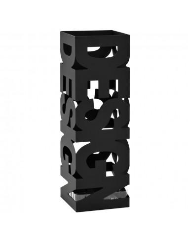 Stovas skėčiams, su Design užrašu, plienas, juodas  | Lietsargių stovai ir pakabos | duodu.lt