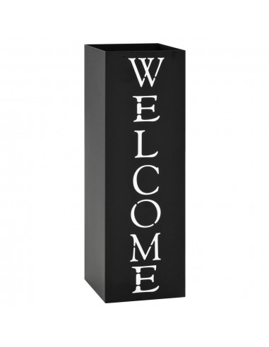 Stovas skėčiams, su užrašu Welcome, plieninis, juodas  | Lietsargių stovai ir pakabos | duodu.lt