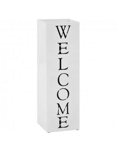 Stovas skėčiams, su užrašu Welcome, plieninis, baltas | Lietsargių stovai ir pakabos | duodu.lt