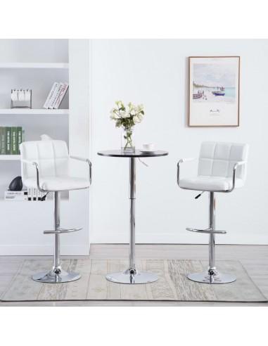 Baro kėdės su porankiais, 2vnt., dirbtinė oda, baltos  | Stalai ir Baro Kėdės | duodu.lt