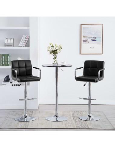 Baro kėdės su porankiais, 2vnt., dirbtinė oda, juodos    Stalai ir Baro Kėdės   duodu.lt