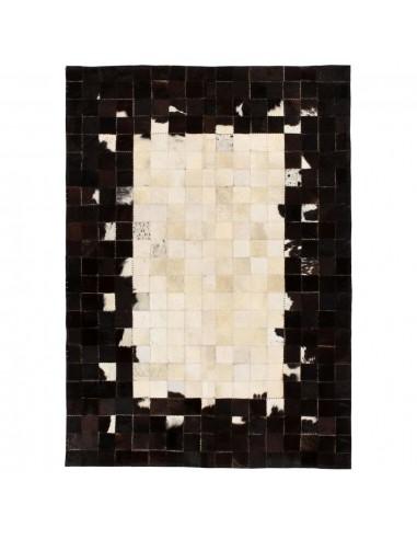 Kilimas, tikros odos, skiaut., 160x230cm, kvadr., juodas/baltas    Kilimėliai   duodu.lt