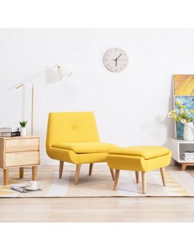 Fotelis su kėdute kojoms, audinio apmušalas, geltonas   Foteliai be porankių   duodu.lt