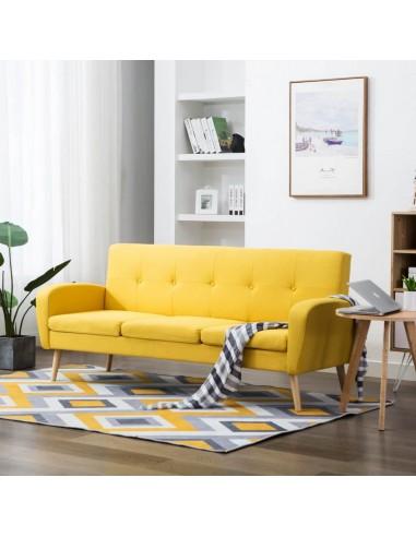 Trivietė sofa, audinys, geltona  | Sofos | duodu.lt
