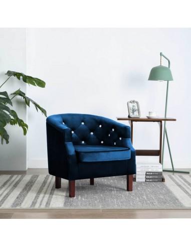 Krėslas, aksominis apmušalas, 65x64x65cm, mėlynas | Foteliai, reglaineriai ir išlankstomi krėslai | duodu.lt