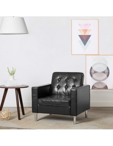 Krėslas, dirbtinės odos apmušalas, juodos spalvos, 75x70x75cm | Foteliai, reglaineriai ir išlankstomi krėslai | duodu.lt