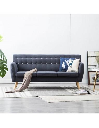 Trivietė sofa, audinio apmušalas, 172x70x82cm, tamsiai pilka   Sofos   duodu.lt
