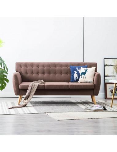 Trivietė sofa, audinio apmušalas, 172x70x82cm, ruda   Sofos   duodu.lt